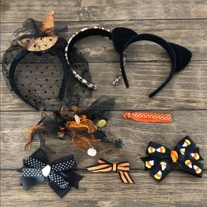 8 pc Halloween Hair Accessory Bundle Cat Ears Bows